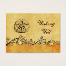rustic, vintage ,sand doll beach wishing well card