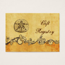 rustic, vintage ,sand dollar beach Gift registry Business Card