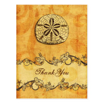 rustic, vintage ,sand dollar beach thank you postcard