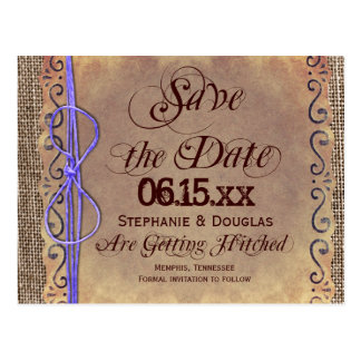 Rustic Vintage Save the Date Postcards Purple