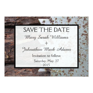 Rustic Vintage Saw Wedding Save The Date 5x7 Paper Invitation Card