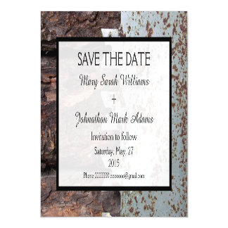 Rustic Vintage Saw Wedding Save The Date Magnetic Card