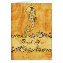 rustic, vintage ,seahorse beach thank you card