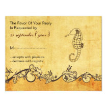 rustic, vintage ,seahorse beach wedding rsvp card