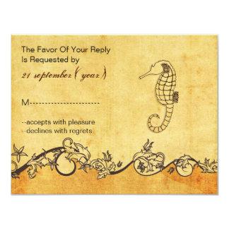 rustic, vintage ,seahorse beach wedding rsvp card