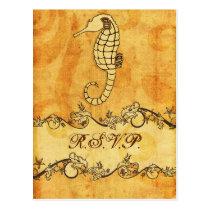 rustic, vintage ,seahorse beach wedding rsvp postcard
