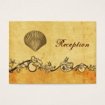 rustic, vintage ,seashell  beach Reception cards