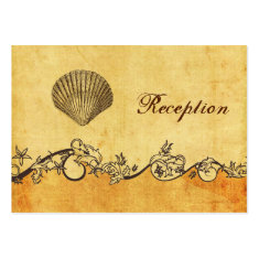 rustic, vintage ,seashell  beach Reception cards Business Card
