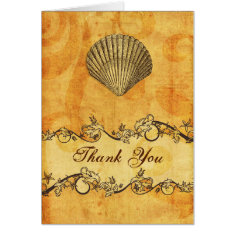 rustic, vintage ,seashell  beach thank you cards