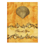 rustic, vintage ,seashell  beach thank you postcards