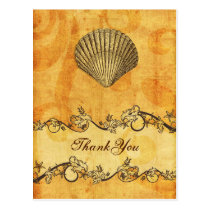 rustic, vintage ,seashell  beach thank you postcard
