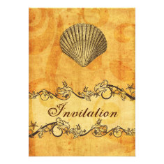 rustic, vintage ,seashell beach wedding invites