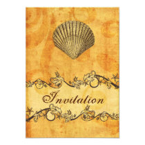 rustic, vintage ,seashell beach wedding invites