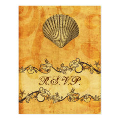 rustic, vintage ,seashell  beach wedding rsvp post cards