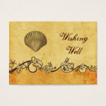 rustic, vintage ,seashell  beach wishing well card