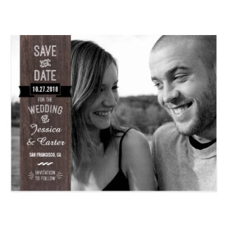 Rustic Vintage Signage Style Photo Save the Date Postcard