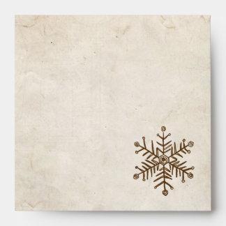 Rustic Vintage Snowflake Envelope