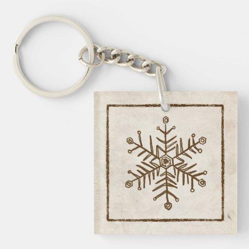 Rustic Vintage Snowflake Keychains