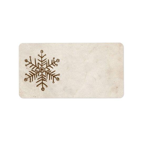 Rustic Vintage Snowflake Label