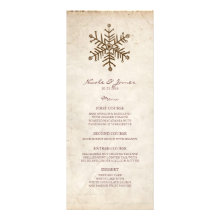 Rustic Vintage Snowflake Wedding Menu Invitations