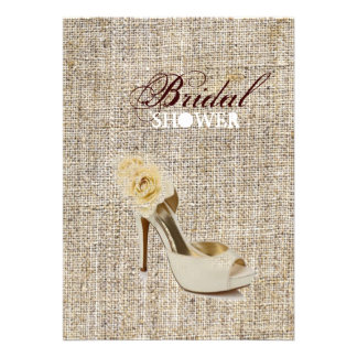 Rustic vintage stamps burlap country Bridal shower Personalized Announcements