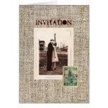 Rustic vintage stamps burlap country Wedding Greeting Card