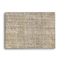 Rustic vintage stamps burlap country Wedding Envelope