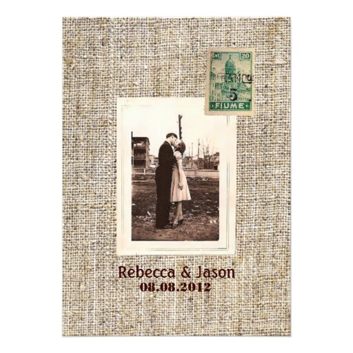 Rustic Vintage Stamps Burlap Country Wedding Invitations