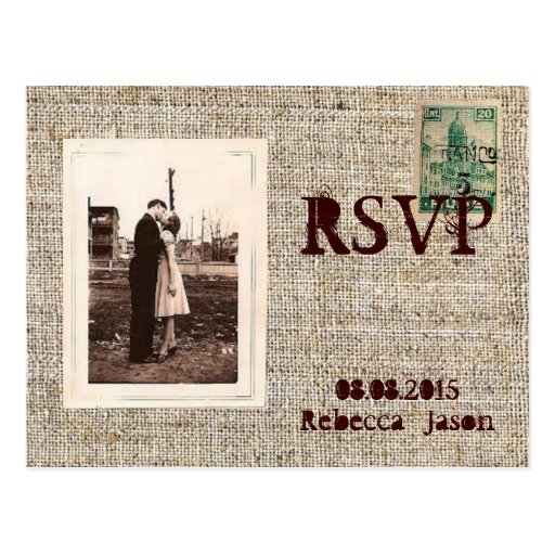 Rustic vintage stamps burlap country Wedding RSVP Post Cards