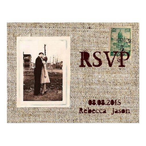 Rustic vintage stamps burlap country wedding rsvp postcard for Wedding rsvp cards stamps