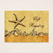 rustic, vintage ,starfish beach Gift registry Business Card