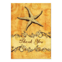 rustic, vintage ,starfish beach thank you card