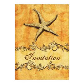 Rustic Starfish Beach   Wedding Invitations