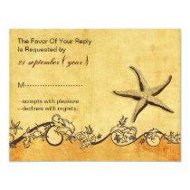 rustic, vintage ,starfish beach wedding rsvp card