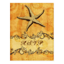 rustic, vintage ,starfish beach wedding rsvp postcard