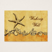 rustic, vintage ,starfish beach wishing well card