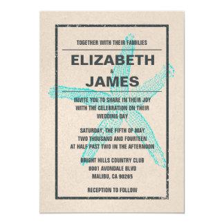 "Rustic Vintage Starfish Wedding Invitations 5"" X 7"" Invitation Card"