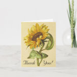 [ Thumbnail: Rustic Vintage Style Sunflower Thank You Card ]
