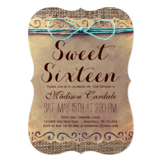Rustic Vintage Sweet Sixteen Birthday Invitations
