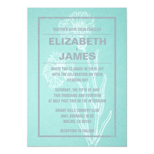 Rustic Vintage Teal And Silver Wedding Invitations