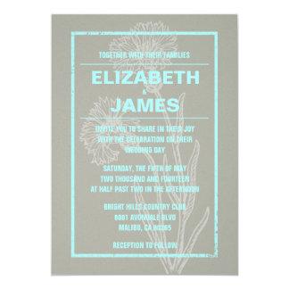 Rustic Vintage Teal Wedding Invitations