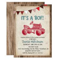Rustic Vintage Tractor Boy Baby Shower Invitation