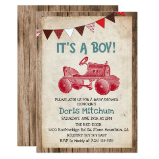 Rustic Vintage Tractor Boy Baby Shower Invitation