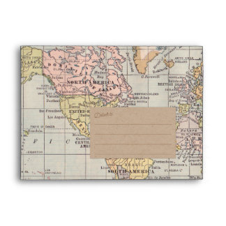 Rustic, Vintage Travel Map Kraft Paper Envelope
