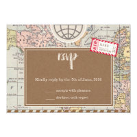 Rustic vintage travel Wedding RSVP Card