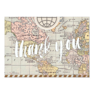 Rustic vintage travel Wedding Thank You Card