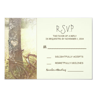 "rustic vintage tree and bicycle wedding RSVP 3.5"" X 5"" Invitation Card"