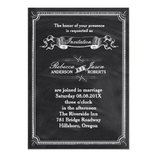 rustic  vintage Typography Chalkboard wedding 5x7 Paper Invitation Card