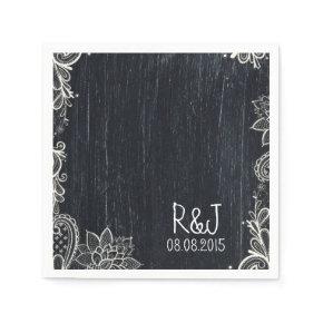 rustic vintage typography  Chalkboard wedding Standard Cocktail Napkin