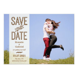 Rustic Vintage Typography Photo Save the Date